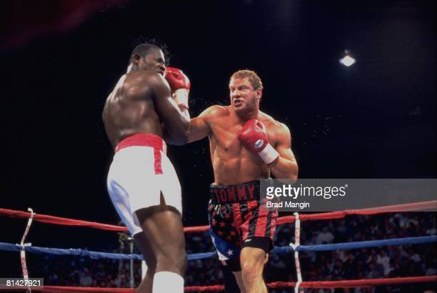 Boxing Heavyweight Tommy Morrison in action vs Carl Williams Reno NV 1/16/1993