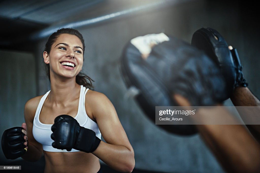 Boxing her way to a ripper body : Stock Photo