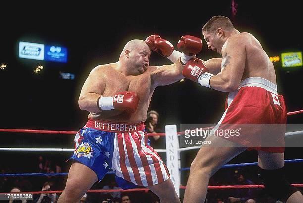 IBA Super Heavyweight Title Eric Butterbean Esch in action vs Patrick Graham during fight at Thomas Mack Center Las Vegas NV J Lovero