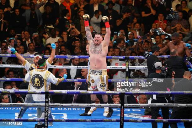 IBF / IBO / WBA / WBO Heavyweight Title Andy Ruiz Jr victorious after winning fight vs Anthony Joshua at Madison Square Garden New York NY CREDIT...