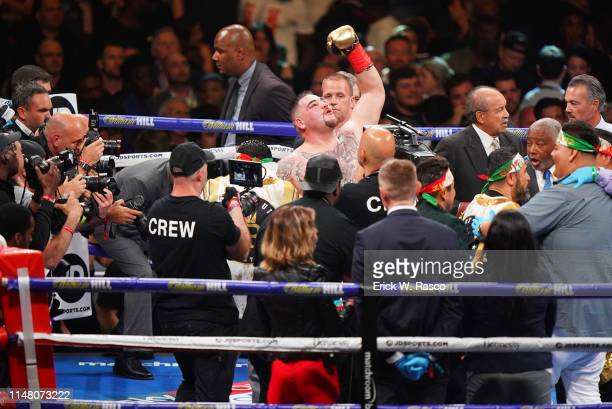 IBF / IBO / WBA / WBO Heavyweight Title Andy Ruiz Jr victorious after winning fight vs Anthony Joshua at Madison Square Garden New York NY CREDIT...