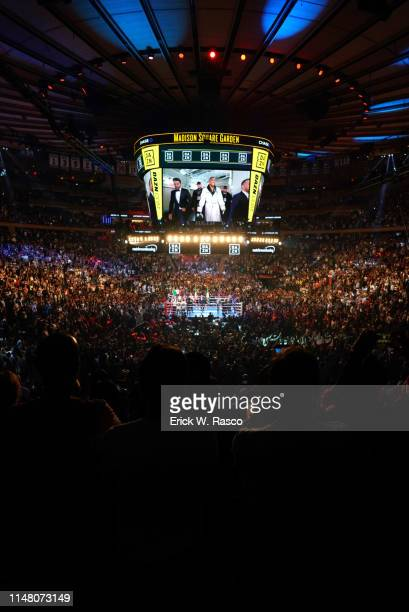 IBF / IBO / WBA / WBO Heavyweight Title View of Madison Square Garden scoreboard during introduction of Anthony Joshua before fight vs Andy Ruiz Jr...