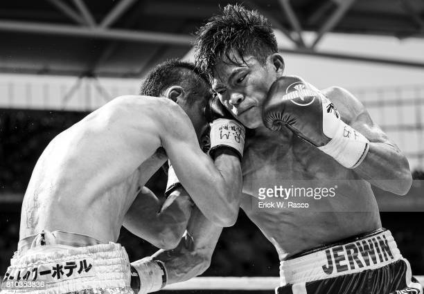 IBF World Super Flyweight Title Jerwin Ancajas and Teiru Kinoshita in action during super flyweight bout at Suncorp Stadium Brisbane Australia...