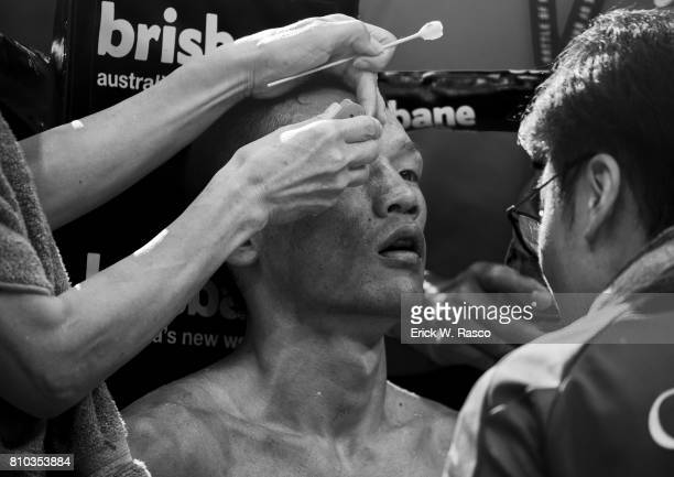 IBF World Super Flyweight Title View of Teiru Kinoshita during super flyweight bout vs Jerwin Ancajas at Suncorp Stadium Brisbane Australia 7/2/2017...