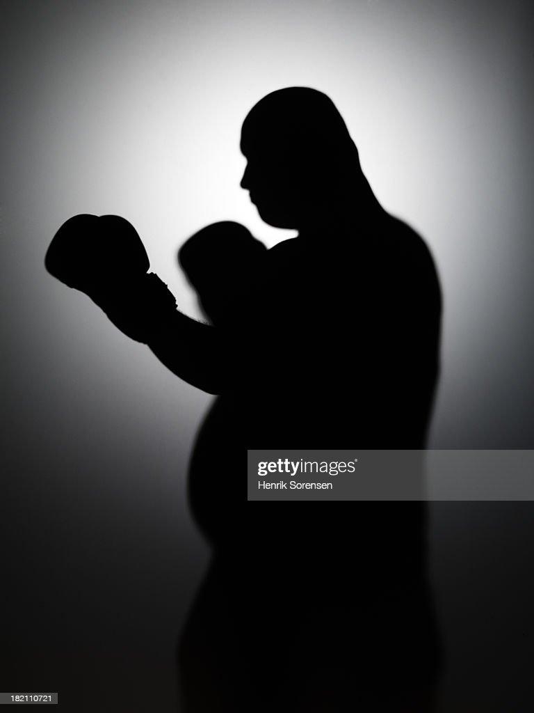 Boxing large man : Stock Photo