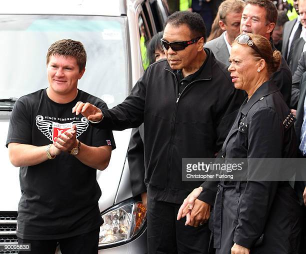 Boxing legend Muhammad Ali aided by his wife Lonnie and meets Ricky Hatton as part of his Uk charity tour on August 26, 2009 in Manchester, England....