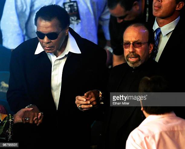 Boxing legend Muhammad Ali and entertainment manager Bernie Yuman arrive at the Floyd Mayweather Jr and Shane Mosley welterweight fight at the MGM...