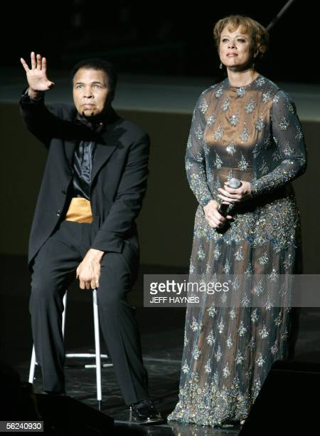 US boxing legend Muhammad Ali and wife Lonnie are seen on stage 19 November 2005 during the Grand Opening Gala for the Muhammad Ali Center at the...