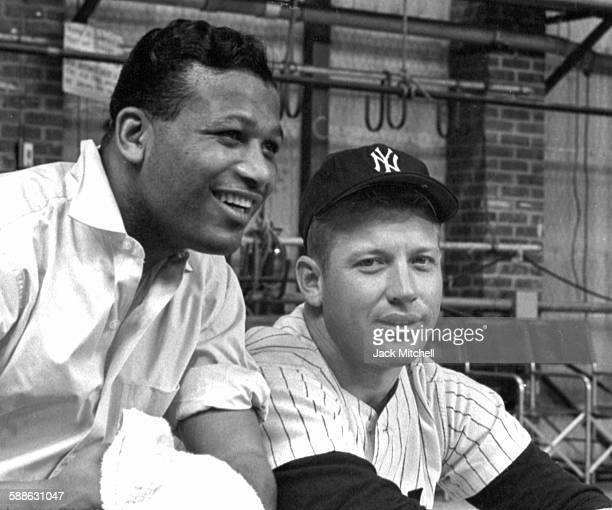 Boxing Legend Sugar Ray Robinson and Baseball Legend Mickey Mantle on NBCTV Omnibus on December 21 1958