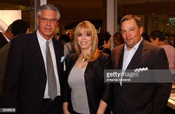 Boxing manager Jackie Kallen poses with Neissing Managing Director Udo Pfutzenreuter and CEO Jochen Exner at the Knockout Preview Party hosted by...