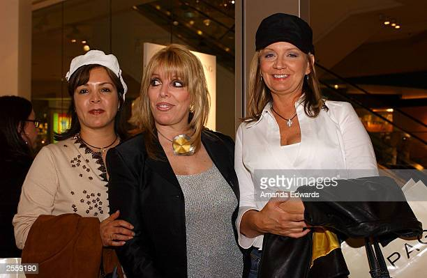 Boxing manager Jackie Kallen poses with Phyllis Rose and Jeanne Miranda at the Knockout Preview Party hosted by Jackie Kallen and Neissing Jewelry in...