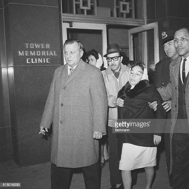 Boxing manager Manuel Alfaro and Lucy Paret leave Roosevelt Hospital in New York after welterweight boxing champion Benny Kid Paret died as a result...