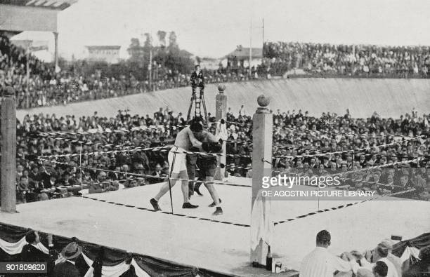 Boxing match between Erminio SpallaPeter Van der Veer at the Sempione track in Milan Italy from L'Illustrazione Italiana Year LI No 41 October 12 1924