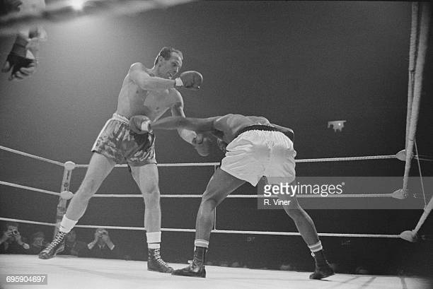 A boxing match between heavyweight contestants Henry Cooper and Chip Johnson at Civic Hall Wolverhampton UK 20th April 1965
