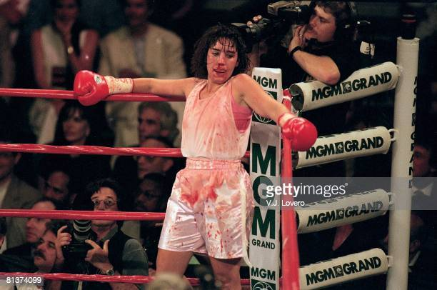 Boxing Middleweight Christy Martin with injury bleeding during fight vs Andrea DeShong at MGM Grand Las Vegas NV 6/28/1997