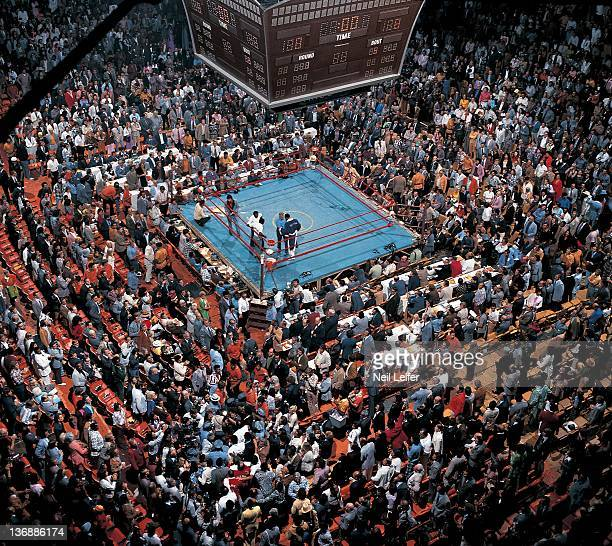 Boxing NABF Heavyweight Title Aerial view of Ken Norton in ring as Muhammad Ali enters the arena before fight at The Forum Inglewood CA 9/10/1973...