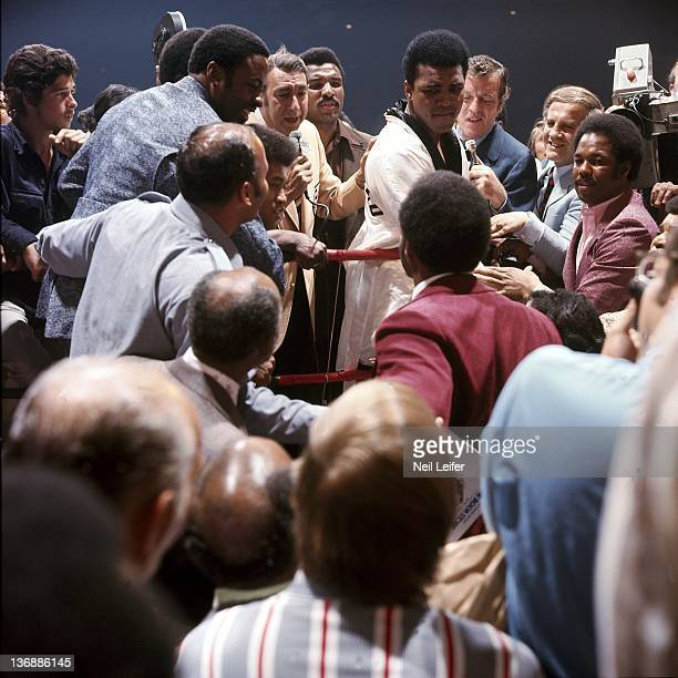 Boxing NABF Heavyweight Title Muhammad Ali talking to George Foreman before his fight vs Jerry Quarry at Las Vegas Convention Center View of his...