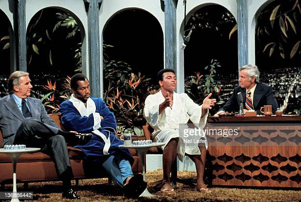 Boxing NABF Heavyweight Title Preview Muhammad Ali and Ken Norton with Johnny Carson and Ed McMahon during simulated weighin on television set of THE...
