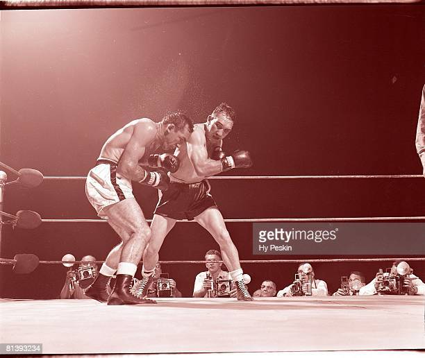 Boxing NBA World Middleweight Title Gene Fullmer in action vs Carmen Basilio at Cow Palace San Francisco CA 8/28/1959