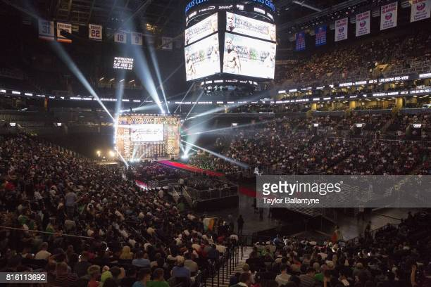 Overall view of fans in arena for Floyd Mayweather Jr vs Conor McGregor event promoting their upcoming Super Welterweight fight during New York leg...