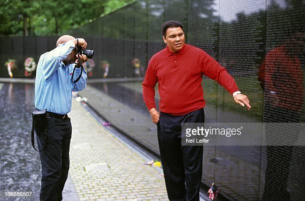 Boxing Portrait of former heavyweight champion Muhammad Ali posing for his friend photographer Howard Bingham at The Vietnam Memorial Washington DC...
