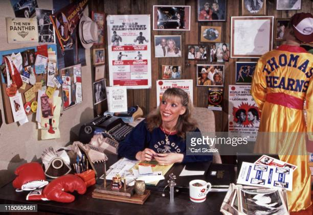 Portrait of Jackie Kallen manager for Thomas Hearns posing during photo shoot in her office at Kronk Gym Detroit MI CREDIT Carl Skalak