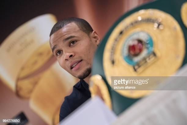Boxing Press conference prior to the quarter finals of the World BoxingSuper Series in Stuttgart Germany September 14 2017 The British boxer Chris...