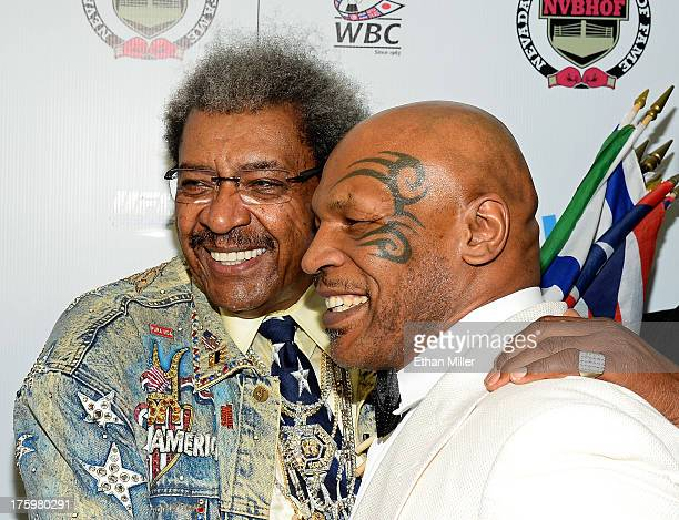 Boxing promoter and inductee Don King and former boxer and inductee Mike Tyson arrive at the Nevada Boxing Hall of Fame inaugural induction gala at...