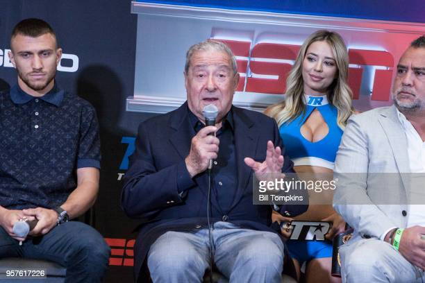 Boxing promoter Bob Arum speaks during the final press conference for the upcoming Lightweight fight between Vasilily Lomachenko and Jorge Linares at...