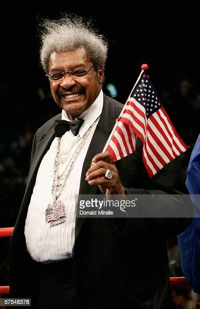 Boxing promoter Don King celebrates after the WBC super welterweight title fight between Ricardo Mayorga and Oscar De La Hoya at the MGM Grand Garden...