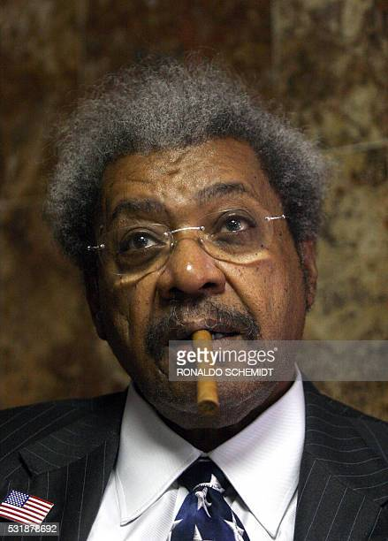 US boxing promoter Don King is pictured during a press conference at the headquarters of the World Box Council in Mexico City before a bidmeeting for...