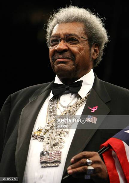 Boxing promoter Don King looks on during the National Anthem before the start of the Light Heavyweight bout at Madison Square Garden January 19, 2008...