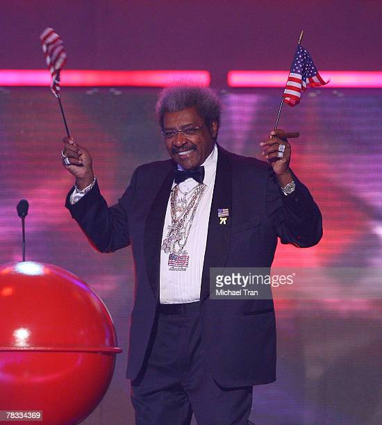 Boxing promoter Don King speaks at Spike TV's 2007 'Video Game Awards' at the Mandalay Bay Events Center on December 7 2007 in Las Vegas Nevada