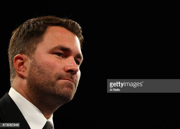 Boxing Promoter Eddie Hearn looks on before the Daniel Jacobs vs Luis Arias Middleweight bout at Nassau Veterans Memorial Coliseum on November 11...