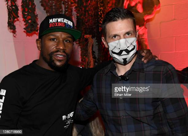 Boxing promoter Floyd Mayweather Jr. Poses with Fright Ride creator Jason Egan after Mayweather went through the Fright Ride immersive haunted...