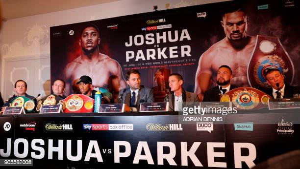Boxing promoters Eddie Hearn and David Higgins speak as Britain's Anthony Joshua WBA IBF and IBO world heavyweight boxing champion and New Zealand's...