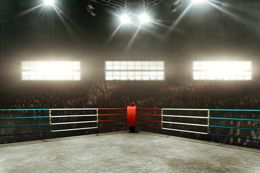 Boxing ring 3D render 898881316