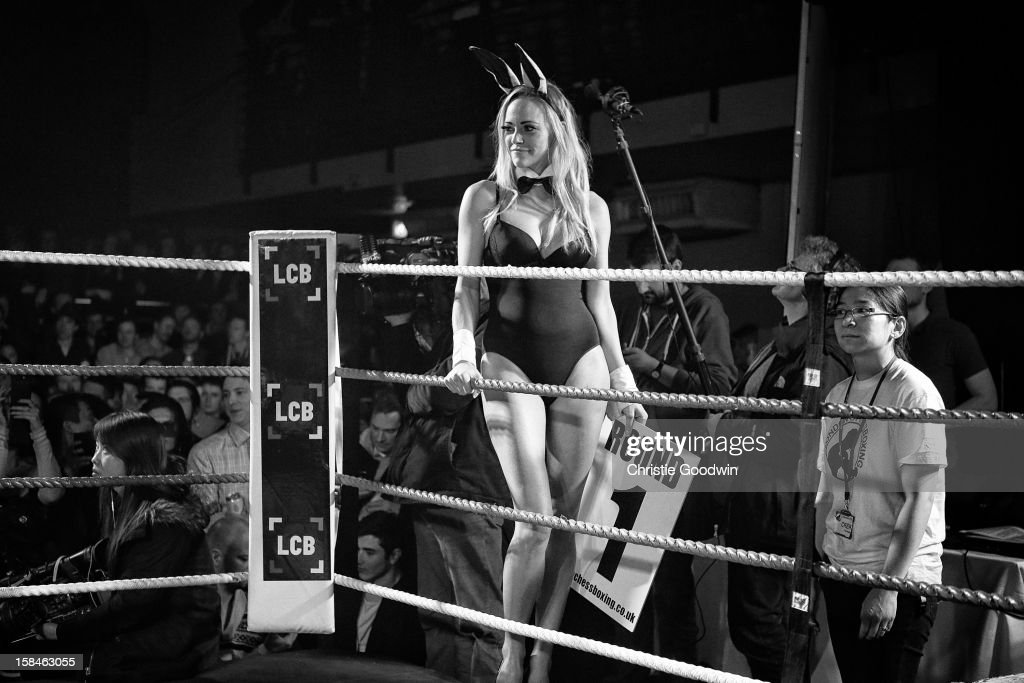 Boxing ring girl in the ring during the Chessboxing 2012 Season Finale at Scala on December 8, 2012 in London, England.