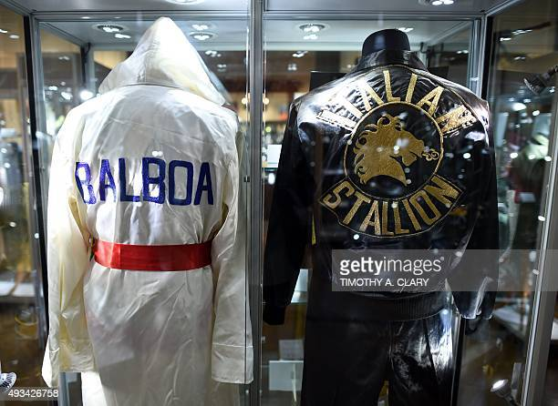 Boxing robes from the Sylvester Stallone film 'Rocky IV' on display during a press preview of Heritage Auctions upcoming auction of memorabilia from...