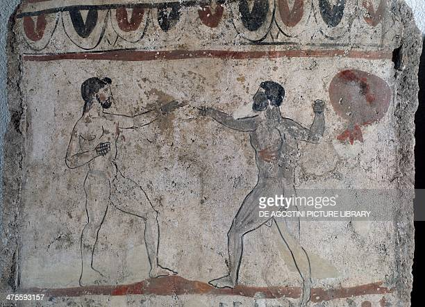 Boxing scene fresco on a gravestone from a Lucanian tombstone Ancient Greek civilisation 4th century BC Paestum Museum
