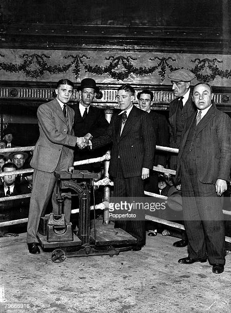 Boxing Teddy Baldock and Dick Corbett pictured in the ring shaking hands 1931
