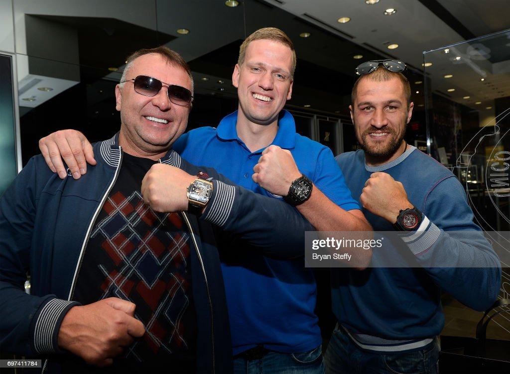 Boxing trainer Egis Klimas, Andrius Krukonis and boxer and Hublot ambassador Sergey Kovalev visit the Hublot Boutique at The Forum Shops at Caesars on June 18, 2017 in Las Vegas, Nevada.