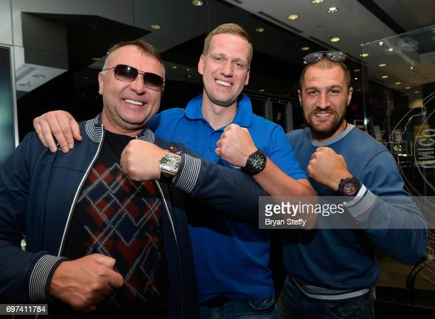 Boxing trainer Egis Klimas Andrius Krukonis and boxer and Hublot ambassador Sergey Kovalev visit the Hublot Boutique at The Forum Shops at Caesars on...