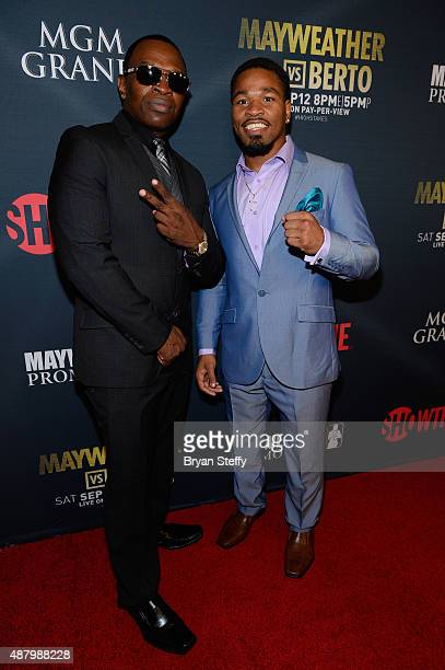 Boxing trainer Kenny Porter and boxer Shawn Porter arrive at the VIP PreFight Party for 'High Stakes Mayweather v Berto' presented by Showtime at MGM...