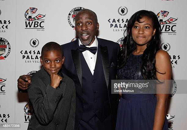 Boxing trainer Roger Mayweather his son Lekei and daughter Jade attend the third annual Nevada Boxing Hall of Fame induction gala at Caesars Palace...