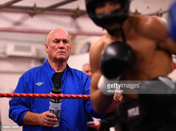Boxing trainer Ronnie Davies looks on during a Chris Eubank jnr training session at the Brighton and Hove Boxing Club on November 14 2014 in Brighton...