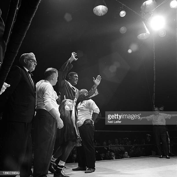Vacant WBA World Heavyweight Title Ernie Terrell victorious in corner after winning fight vs Eddie Machen with unanimous decison at International...