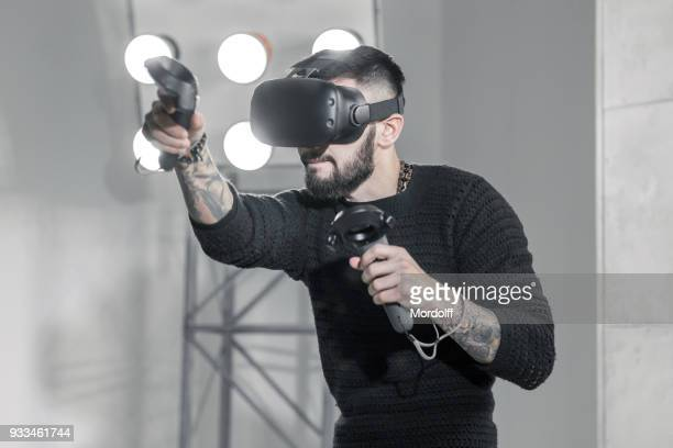 boxing virtual simulator - virtual reality simulator stock photos and pictures