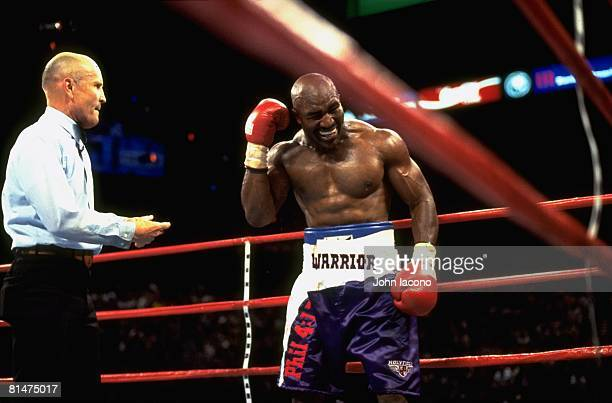 Boxing WBA Heavyweight Title Evander Holyfield upset complaining to referee Mills Lane after first bite from Mike Tyson during fight at MGM Grand Las...