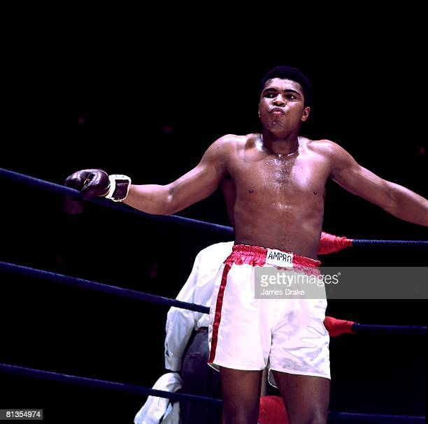 Boxing WBA Heavyweight Title Muhammad Ali in corner between rounds during fight vs Ernie Terrell at Astrodome Houston TX 2/6/1967